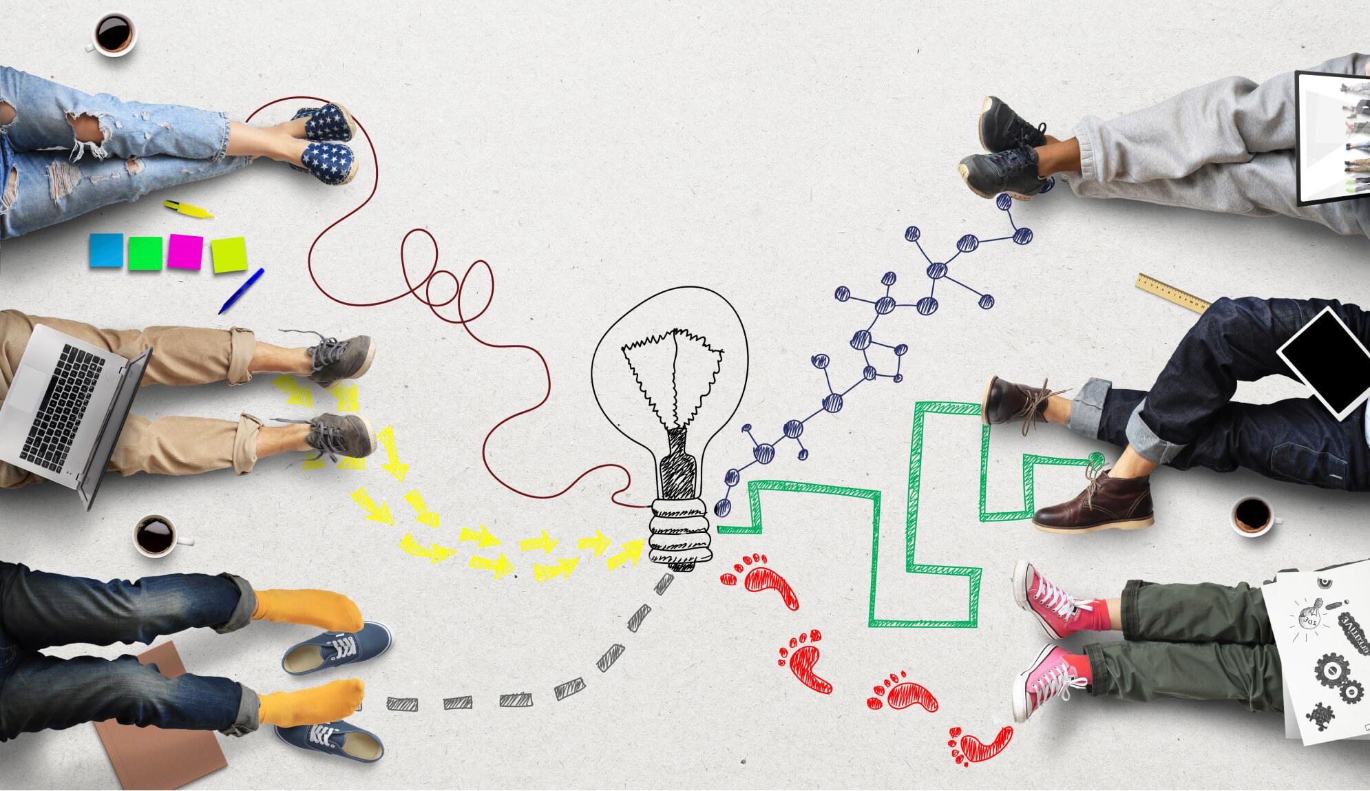 dibujo de ideas en el piso